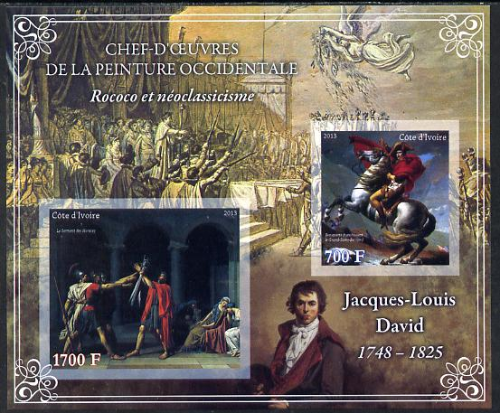 Ivory Coast 2013 Art Masterpieces from the Western World - Rococo & Neoclassicism - Jacques-Louis David imperf sheetlet containing 2 values unmounted mint