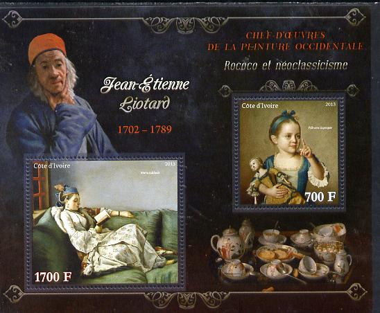 Ivory Coast 2013 Art Masterpieces from the Western World - Rococo & Neoclassicism - Jean-Etienne Liotard perf sheetlet containing 2 values unmounted mint