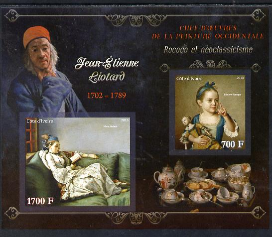 Ivory Coast 2013 Art Masterpieces from the Western World - Rococo & Neoclassicism - Jean-Etienne Liotard imperf sheetlet containing 2 values unmounted mint