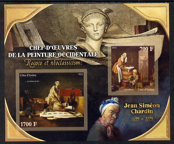 Ivory Coast 2013 Art Masterpieces from the Western World - Rococo & Neoclassicism - Jean-Baptiste-Simeon Chardin imperf sheetlet containing 2 values unmounted mint