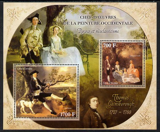 Ivory Coast 2013 Art Masterpieces from the Western World - Rococo & Neoclassicism - Thomas Gainsborough perf sheetlet containing 2 values unmounted mint