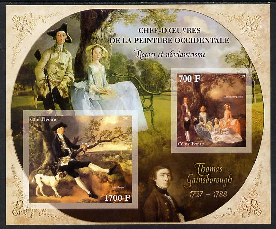 Ivory Coast 2013 Art Masterpieces from the Western World - Rococo & Neoclassicism - Thomas Gainsborough imperf sheetlet containing 2 values unmounted mint