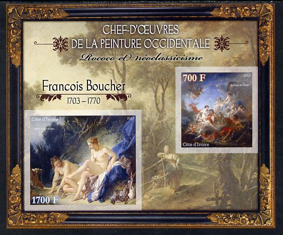Ivory Coast 2013 Art Masterpieces from the Western World - Rococo & Neoclassicism - Francois Boucher imperf sheetlet containing 2 values unmounted mint