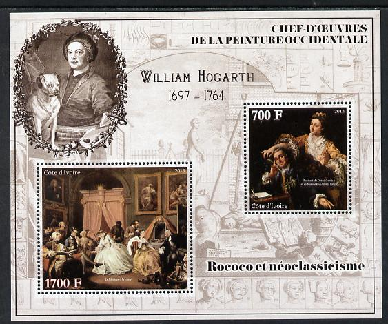 Ivory Coast 2013 Art Masterpieces from the Western World - Rococo & Neoclassicism - William Hogarth perf sheetlet containing 2 values unmounted mint