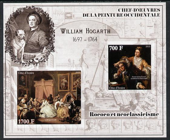 Ivory Coast 2013 Art Masterpieces from the Western World - Rococo & Neoclassicism - William Hogarth imperf sheetlet containing 2 values unmounted mint