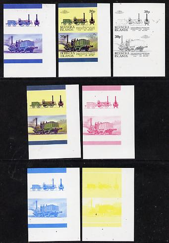 Bernera 1983 Locomotives #2 (Dublin & Kingstown Railway) 30p set of 7 se-tenant progressive proof pairs comprising the 4 individual colours plus 2, 3 and all 4 colour composites (7 proof pairs) unmounted mint*