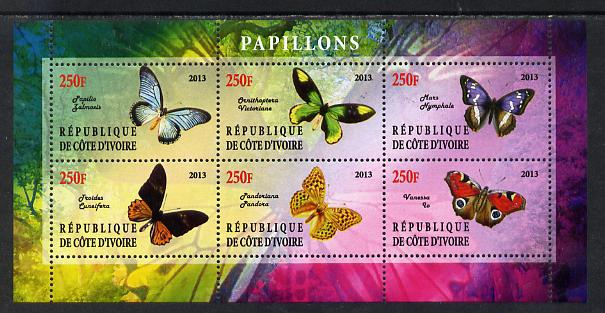 Ivory Coast 2013 Butterflies #4 perf sheetlet containing 6 values unmounted mint