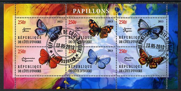 Ivory Coast 2013 Butterflies #5 perf sheetlet containing 6 values fine cto used
