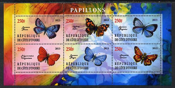 Ivory Coast 2013 Butterflies #5 perf sheetlet containing 6 values unmounted mint