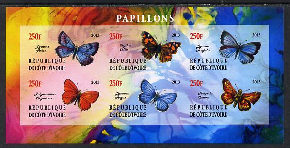 Ivory Coast 2013 Butterflies #5 imperf sheetlet containing 6 values unmounted mint