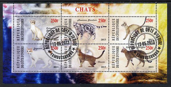Ivory Coast 2013 Domestic Cats #3 perf sheetlet containing 6 values fine cto used