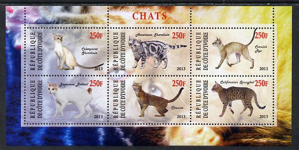 Ivory Coast 2013 Domestic Cats #3 perf sheetlet containing 6 values unmounted mint