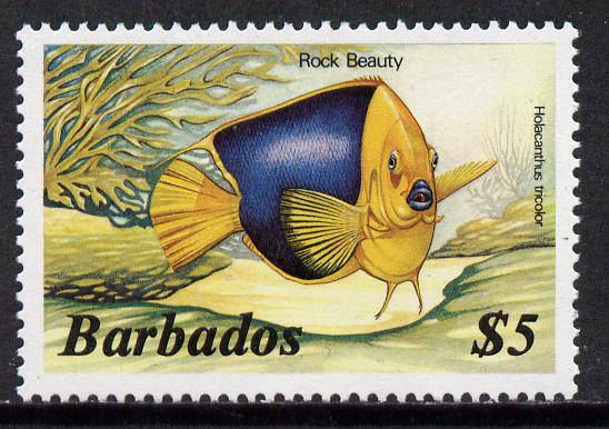 Barbados 1986 Rock Beauty $5 (from Marine Life def set) without imprint date, SG 808A