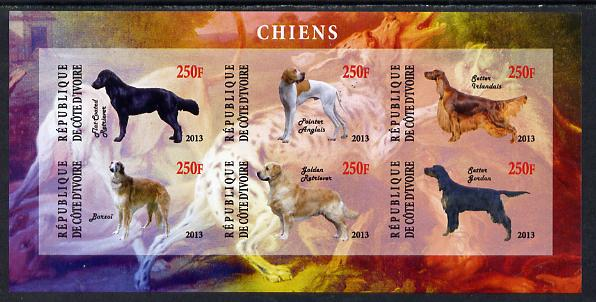 Ivory Coast 2013 Dogs #3 imperf sheetlet containing 6 values unmounted mint