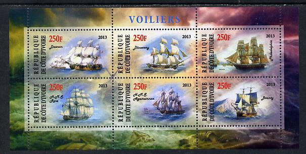 Ivory Coast 2013 Sailing Ships #1 perf sheetlet containing 6 values unmounted mint