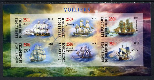 Ivory Coast 2013 Sailing Ships #1 imperf sheetlet containing 6 values unmounted mint