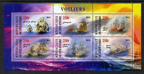 Ivory Coast 2013 Sailing Ships #2 perf sheetlet containing 6 values unmounted mint