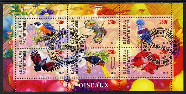 Ivory Coast 2013 Birds perf sheetlet containing 6 values fine cto used