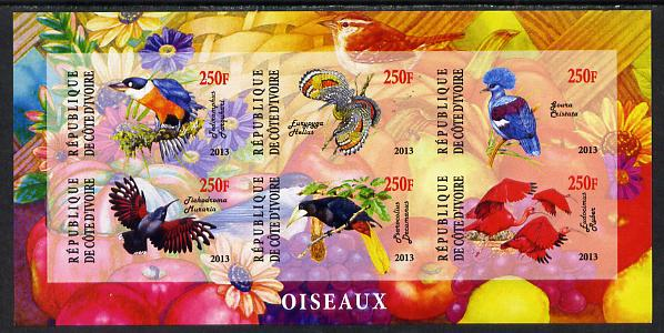 Ivory Coast 2013 Birds imperf sheetlet containing 6 values unmounted mint