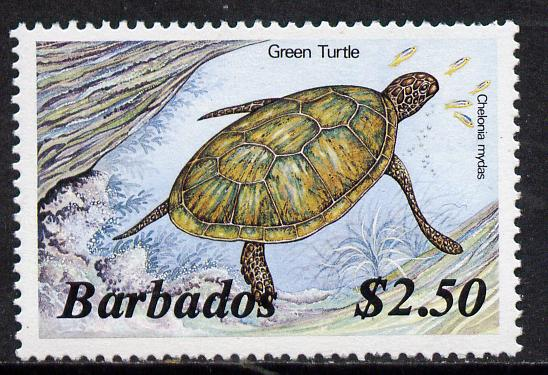 Barbados 1986 Green Turtle $2.50 (from Marine Life def set) without imprint date unmounted mint, SG 807A