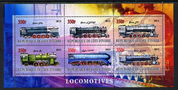 Ivory Coast 2013 Locomotives #2 perf sheetlet containing 6 values unmounted mint