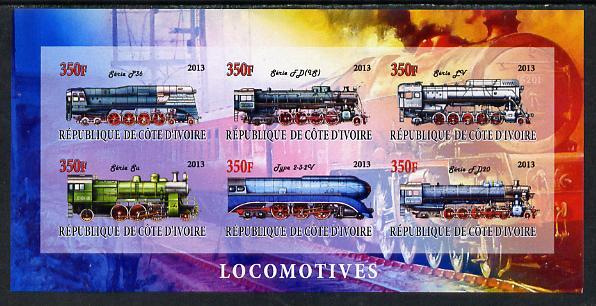 Ivory Coast 2013 Locomotives #2 imperf sheetlet containing 6 values unmounted mint