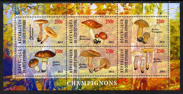 Ivory Coast 2013 Fungi #3 perf sheetlet containing 6 values unmounted mint