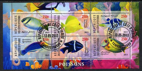 Ivory Coast 2013 Fish perf sheetlet containing 6 values fine cto used