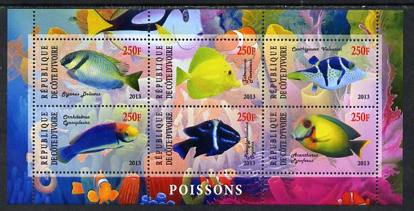 Ivory Coast 2013 Fish perf sheetlet containing 6 values unmounted mint
