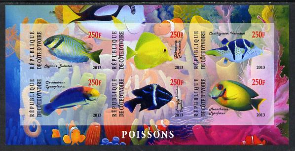 Ivory Coast 2013 Fish imperf sheetlet containing 6 values unmounted mint