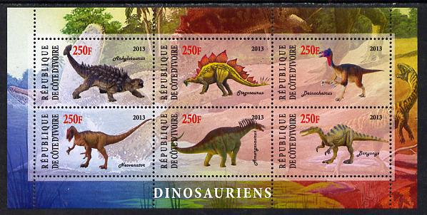 Ivory Coast 2013 Dinosaurs #2 perf sheetlet containing 6 values unmounted mint