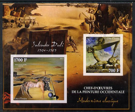 Ivory Coast 2013 Art Masterpieces from the Western World - Modernism - Salvador Dali imperf sheetlet containing 2 values unmounted mint