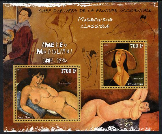 Ivory Coast 2013 Art Masterpieces from the Western World - Modernism - Amedeo Modigliani perf sheetlet containing 2 values unmounted mint