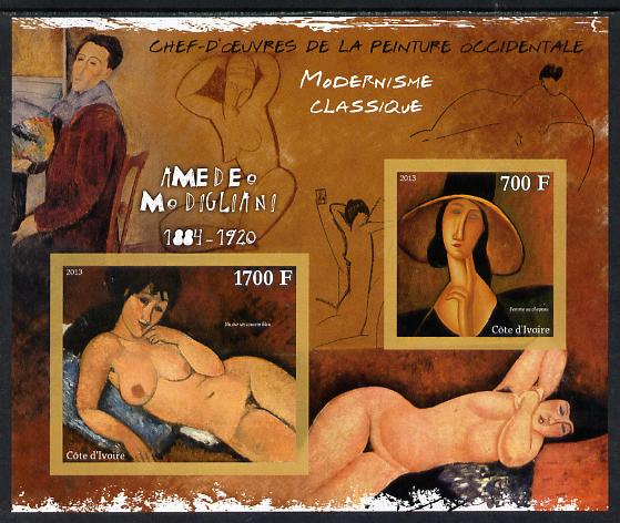 Ivory Coast 2013 Art Masterpieces from the Western World - Modernism - Amedeo Modigliani imperf sheetlet containing 2 values unmounted mint