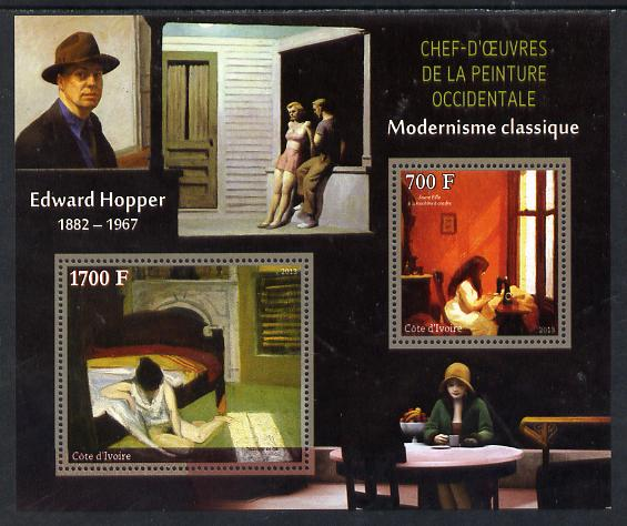Ivory Coast 2013 Art Masterpieces from the Western World - Modernism - Edward Hopper perf sheetlet containing 2 values unmounted mint