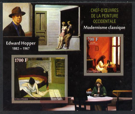 Ivory Coast 2013 Art Masterpieces from the Western World - Modernism - Edward Hopper imperf sheetlet containing 2 values unmounted mint