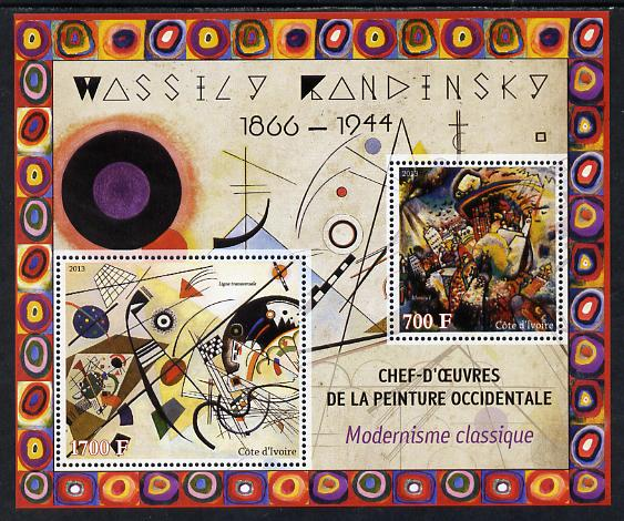 Ivory Coast 2013 Art Masterpieces from the Western World - Modernism - Wassily Kandinsky perf sheetlet containing 2 values unmounted mint