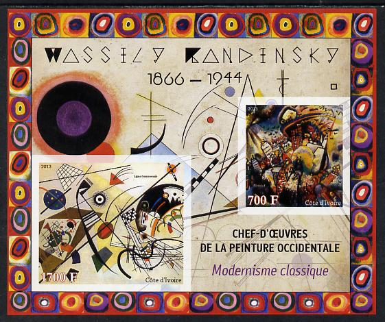 Ivory Coast 2013 Art Masterpieces from the Western World - Modernism - Wassily Kandinsky imperf sheetlet containing 2 values unmounted mint