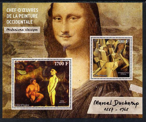 Ivory Coast 2013 Art Masterpieces from the Western World - Modernism - Marcel Duchamp perf sheetlet containing 2 values unmounted mint