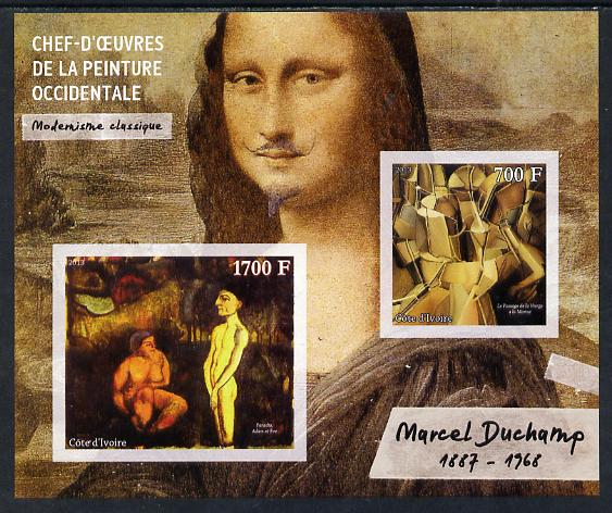 Ivory Coast 2013 Art Masterpieces from the Western World - Modernism - Marcel Duchamp imperf sheetlet containing 2 values unmounted mint