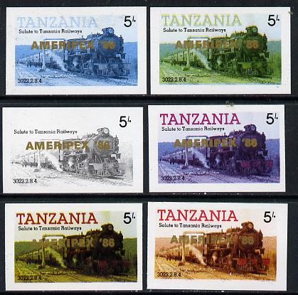 Tanzania 1986 Locomotive 3022 5s value (SG 430) unmounted mint imperf set of 6 progressive colour proofs each with 'Ameripex '86' opt in gold*