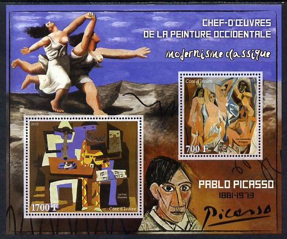 Ivory Coast 2013 Art Masterpieces from the Western World - Modernism - Pablo Picasso perf sheetlet containing 2 values unmounted mint