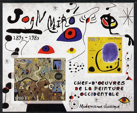 Ivory Coast 2013 Art Masterpieces from the Western World - Modernism - Joan Miro imperf sheetlet containing 2 values unmounted mint