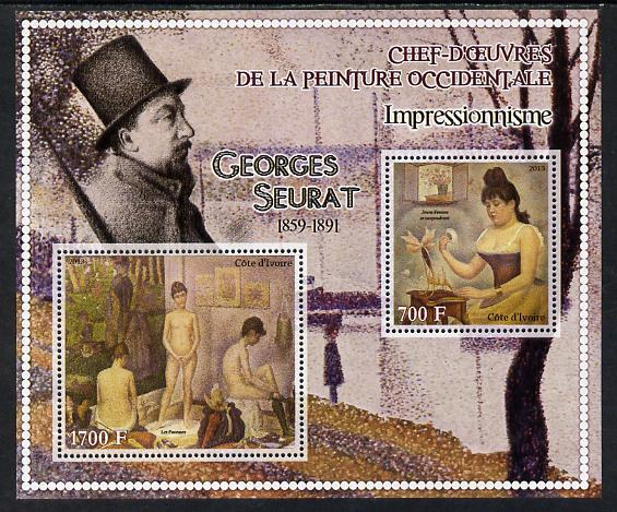 Ivory Coast 2013 Art Masterpieces from the Western World - Impressionism - Georges Seurat perf sheetlet containing 2 values unmounted mint