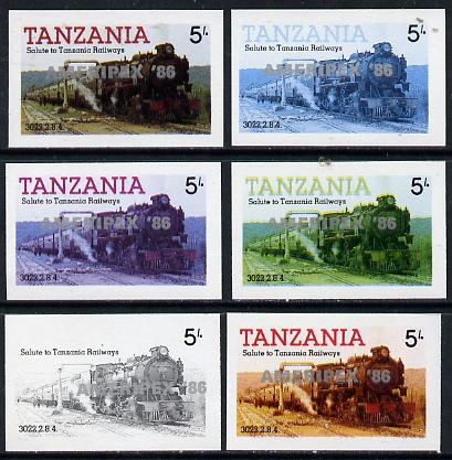 Tanzania 1986 Locomotive 3022 5s value (SG 430) unmounted mint imperf set of 6 progressive colour proofs each with 'Ameripex '86' opt in silver*