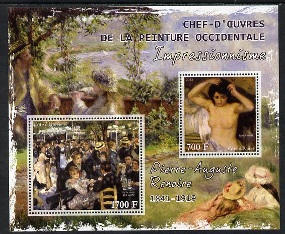 Ivory Coast 2013 Art Masterpieces from the Western World - Impressionism - Pierre Auguste Renoir perf sheetlet containing 2 values unmounted mint