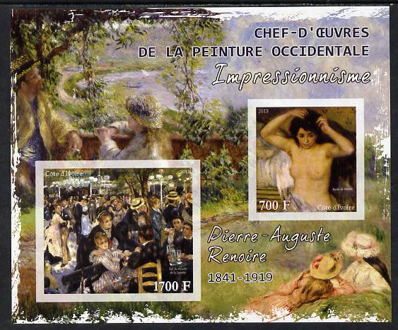 Ivory Coast 2013 Art Masterpieces from the Western World - Impressionism - Pierre Auguste Renoir imperf sheetlet containing 2 values unmounted mint, stamps on arts, stamps on impressionism, stamps on renoir, stamps on nudes, stamps on
