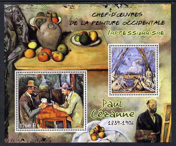 Ivory Coast 2013 Art Masterpieces from the Western World - Impressionism - Paul Cezanne perf sheetlet containing 2 values unmounted mint