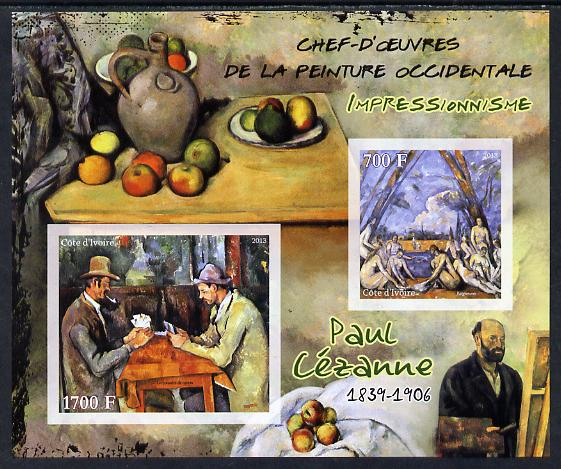 Ivory Coast 2013 Art Masterpieces from the Western World - Impressionism - Paul Cezanne imperf sheetlet containing 2 values unmounted mint