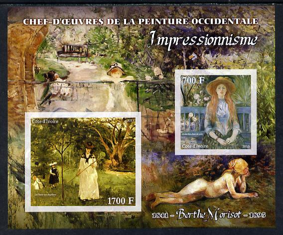 Ivory Coast 2013 Art Masterpieces from the Western World - Impressionism - Berthe Morisot imperf sheetlet containing 2 values unmounted mint